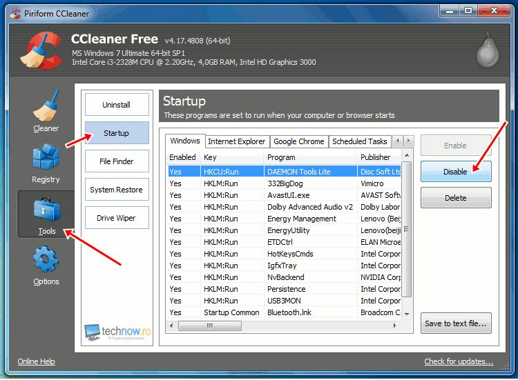 CCleaner - dezactivare programe Startup