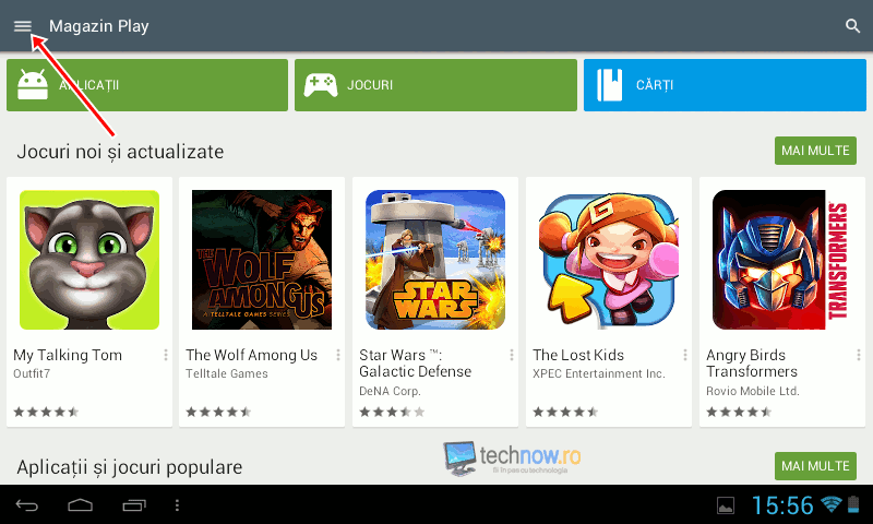 Meniu Google Play Store