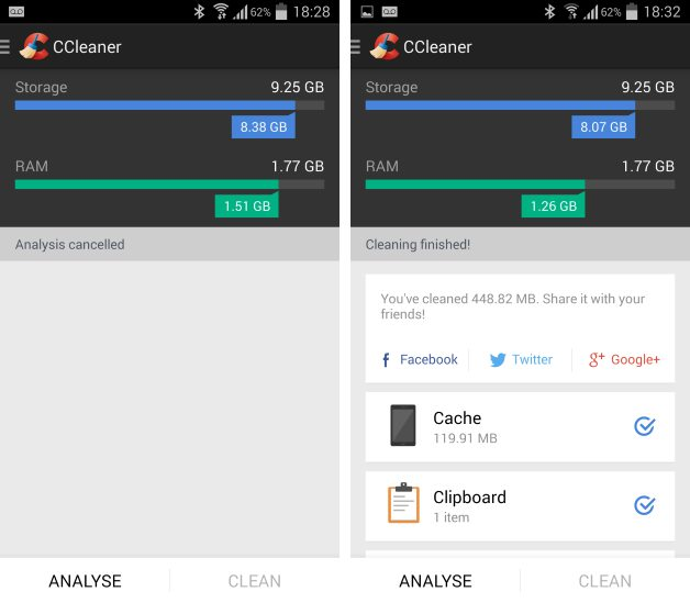 Ștergere fișiere - Ccleaner - Android