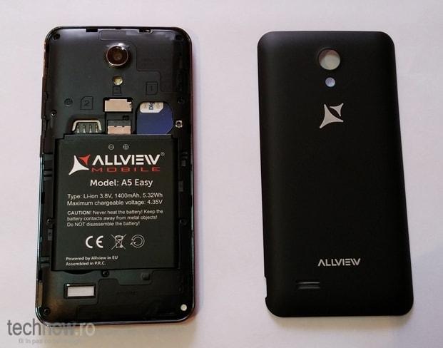 Allview A5 Easy - baterie, sloturi SIM, microSD